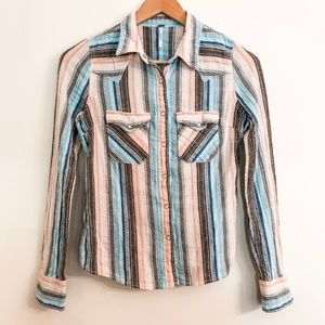 Free People Snap Button Shirt Western Style Stripe